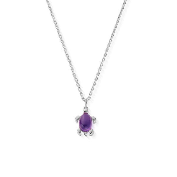 February Birthstone Sea Turtle Necklace - Genuine Amethyst
