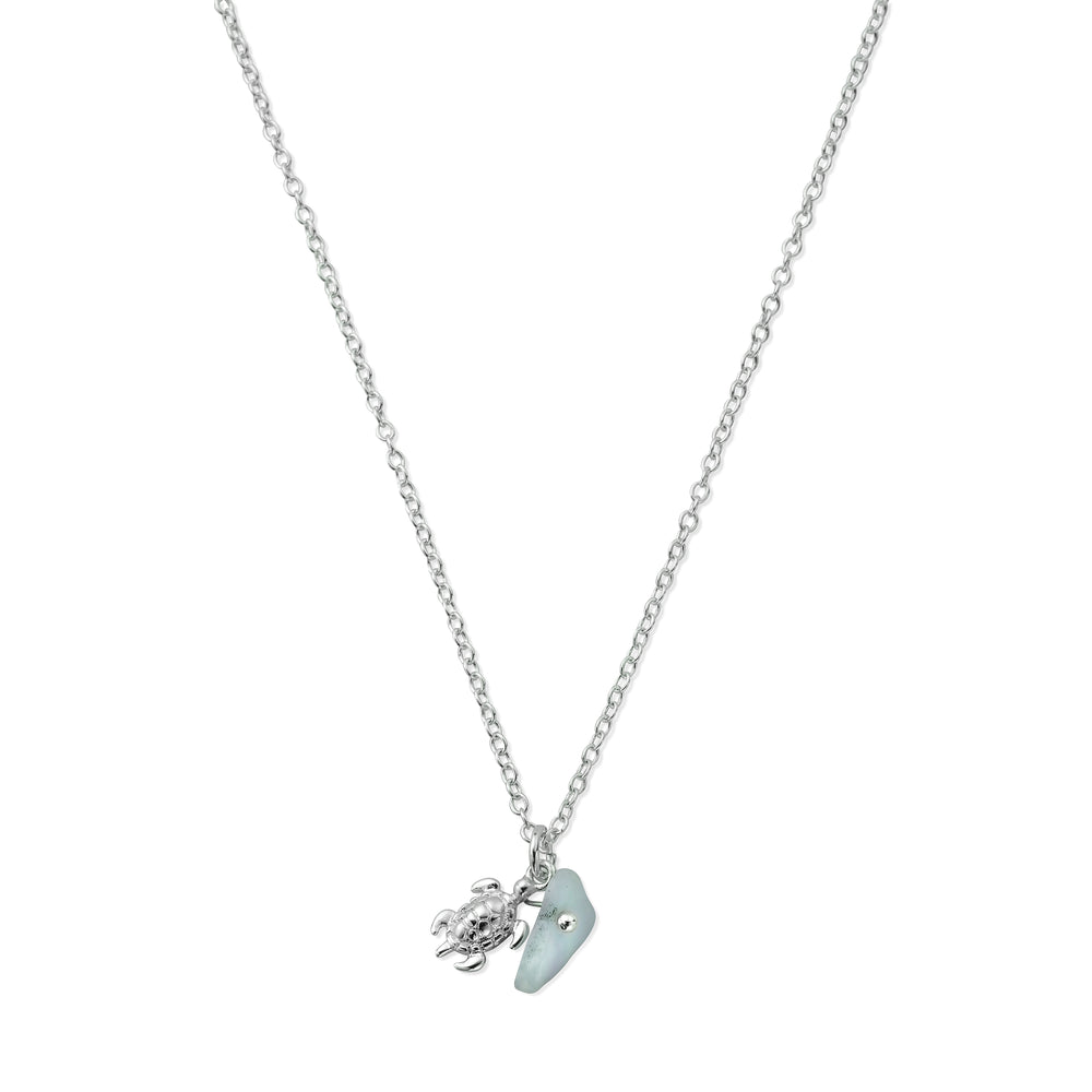 HANALEI Sterling Silver Tiny Sea Turtle Necklace with Aquamarine Shard
