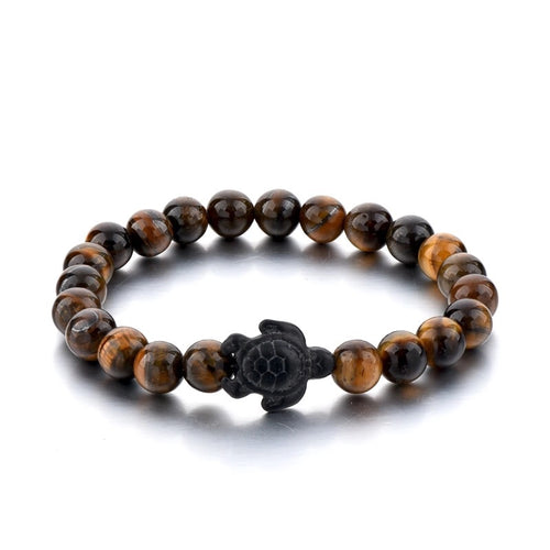 Tiger's Eye Beaded Sea Turtle Bracelet