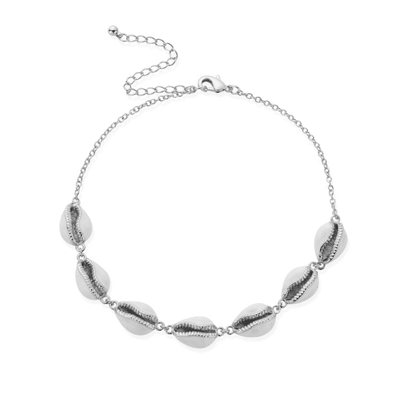 KAHAKAI Shell Anklet in White Gold