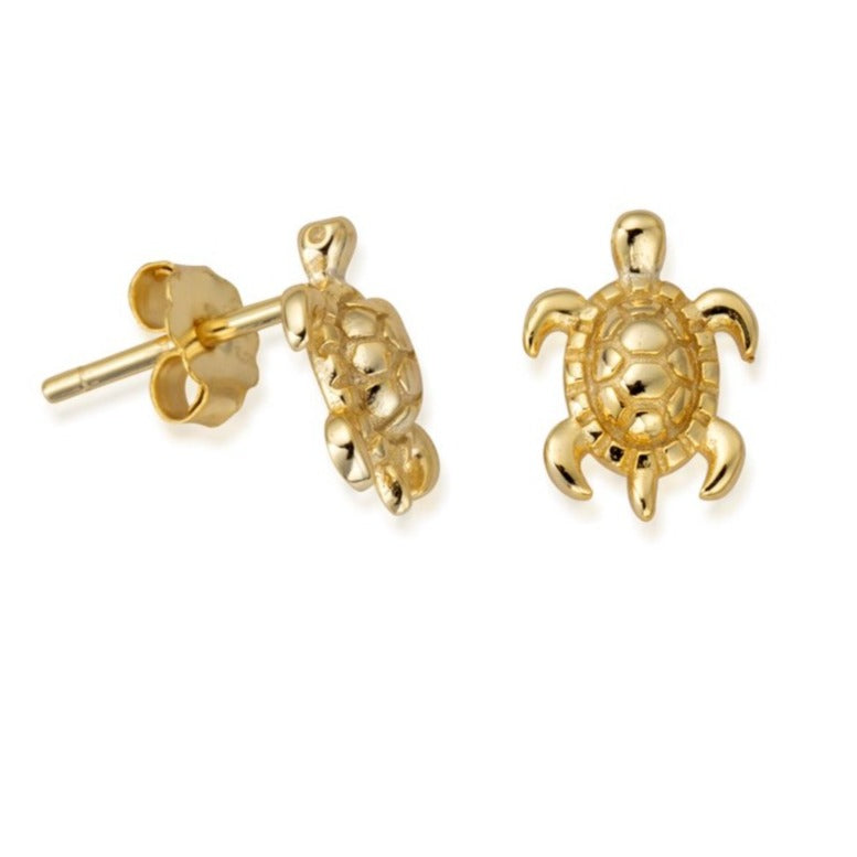 Sterling Silver Tiny Sea Turtle Earrings with 18ct Gold Plating (4868427481185)