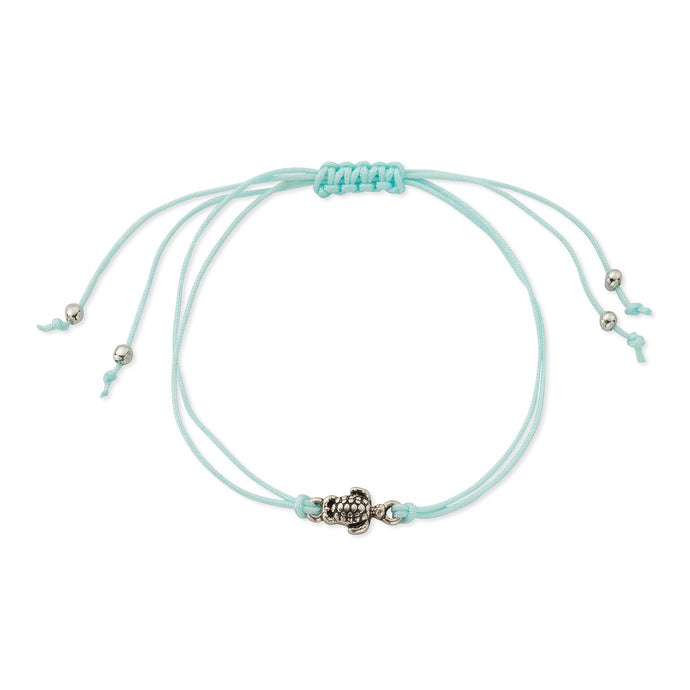 Sea Turtle Charm Friendship Bracelet in Caribbean Blue