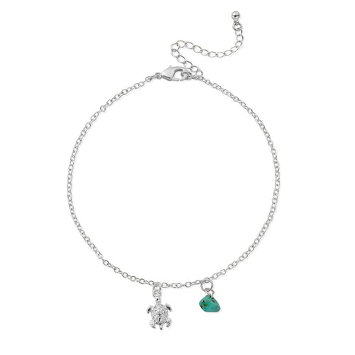 HANALEI Tiny Sea Turtle Anklet with Turquoise Shard