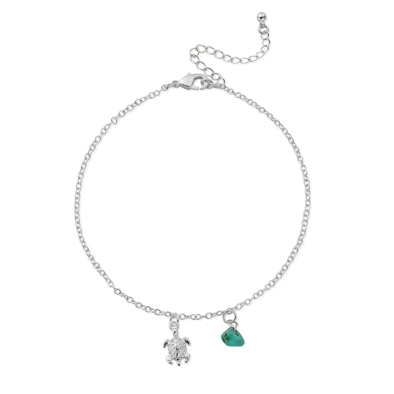 HANALEI Sterling Silver Tiny Sea Turtle Anklet with Turquoise Shard