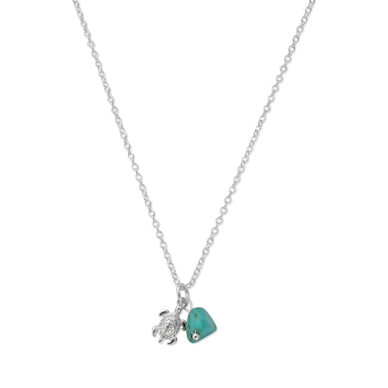 HANALEI Sterling Silver Tiny Sea Turtle Necklace with Turquoise Shard