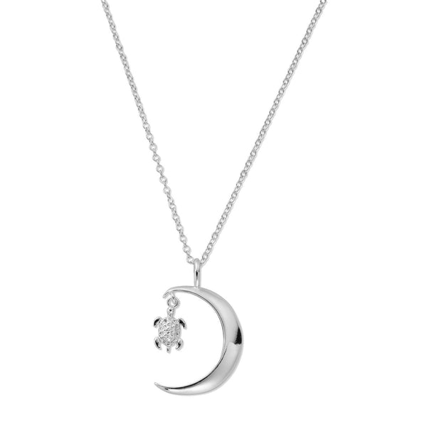 LUNAR Sterling Silver Sea Turtle in Crescent Moon Necklace (757427667041)