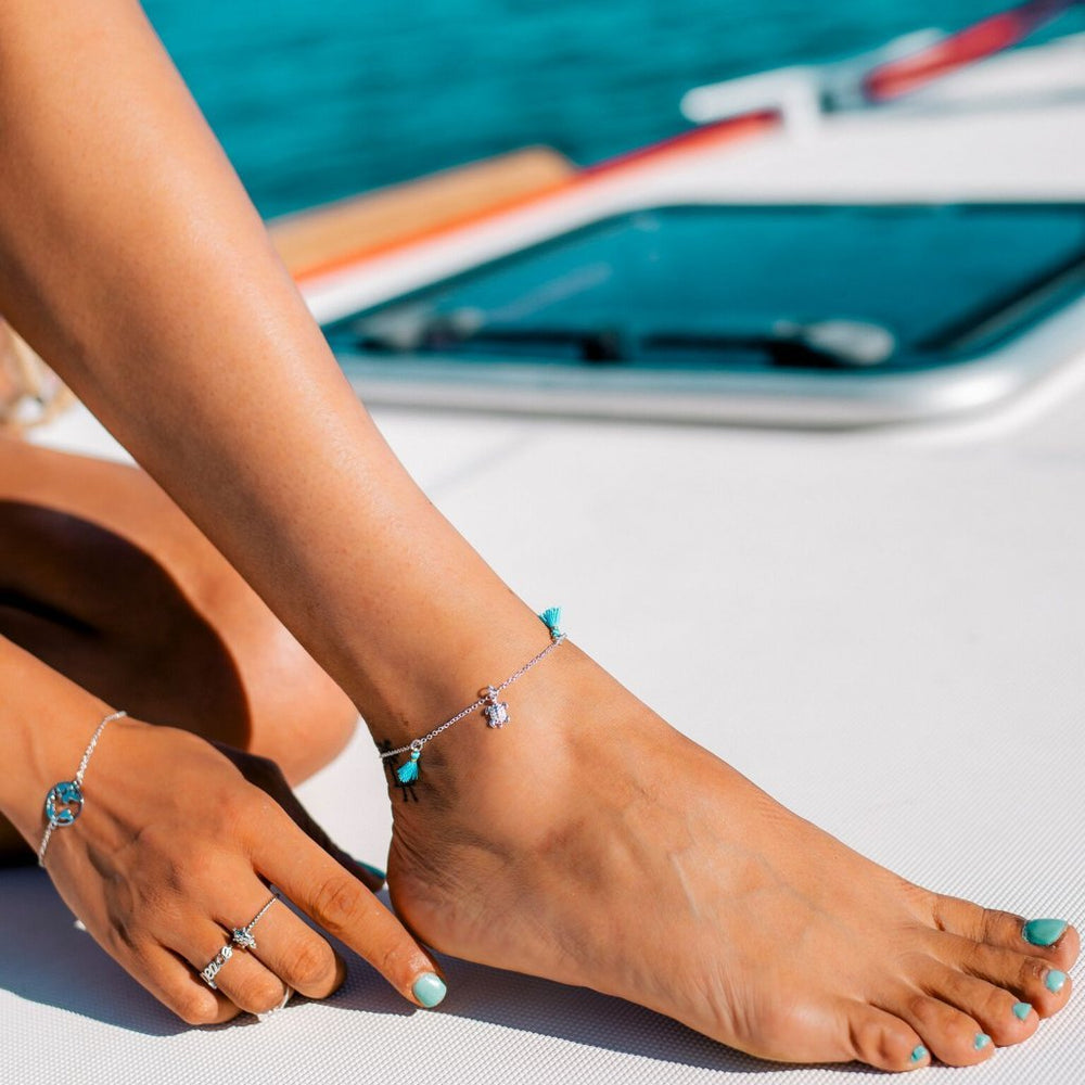 MALU Silver and Blue Tassel Anklet