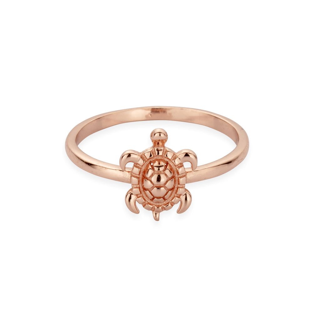 Sterling Silver Tiny Sea Turtle Ring in Rose Gold