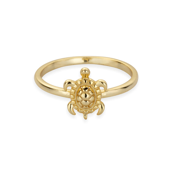 Sterling Silver Tiny Sea Turtle Ring in Gold