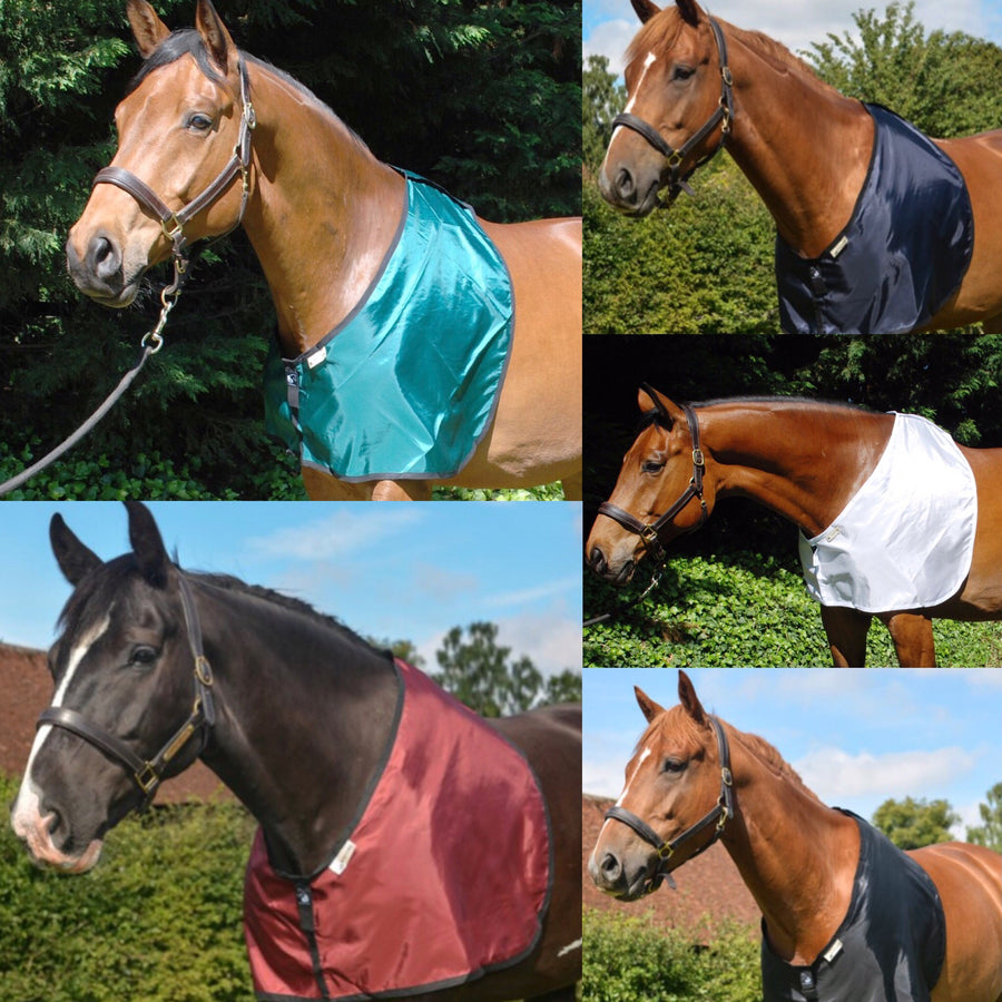 horse bib in all fabric colours for prevention and cure of hair loss on shoulders and withers caused by rug rubs