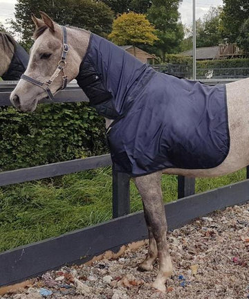 Bossy's Bib ManeGuard designed with cutaway neck for Arabian Horses, silky layer protects horses shoulders, chest and wither from rug rubs, allows rubbed areas to regrow.