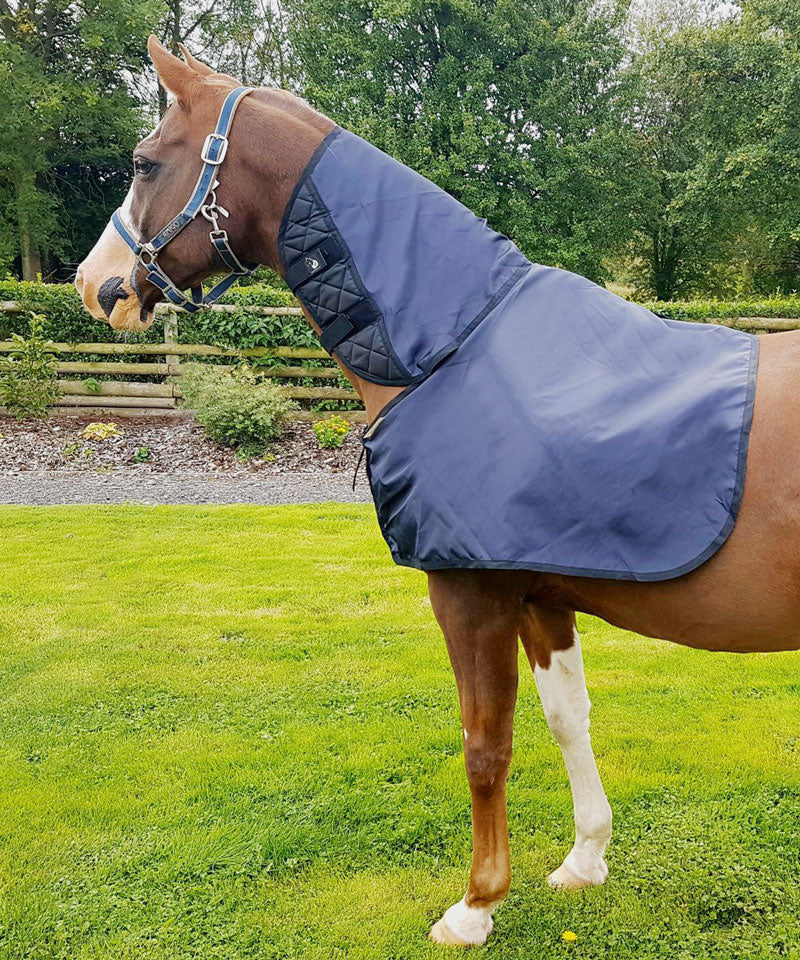 Mane Guard designed with cutaway neck for Arab Horses, silky layer protects horses shoulders, chest and wither from rug rubs, allows rubbed areas to regrow.