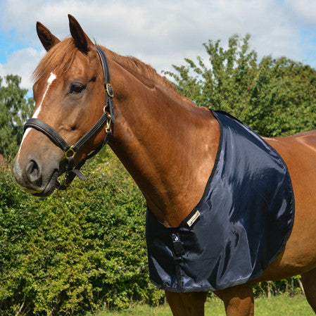 Horse bib in navy fabric for prevention and cure of hair loss on shoulders and withers caused by rug rubs