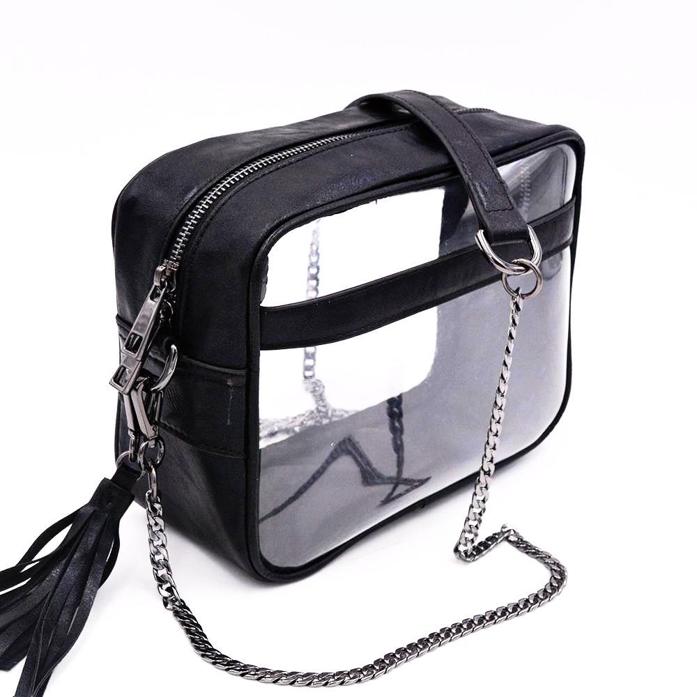Policy Handbags - The Bare Cave -Clear Bag-  Crinkled Black