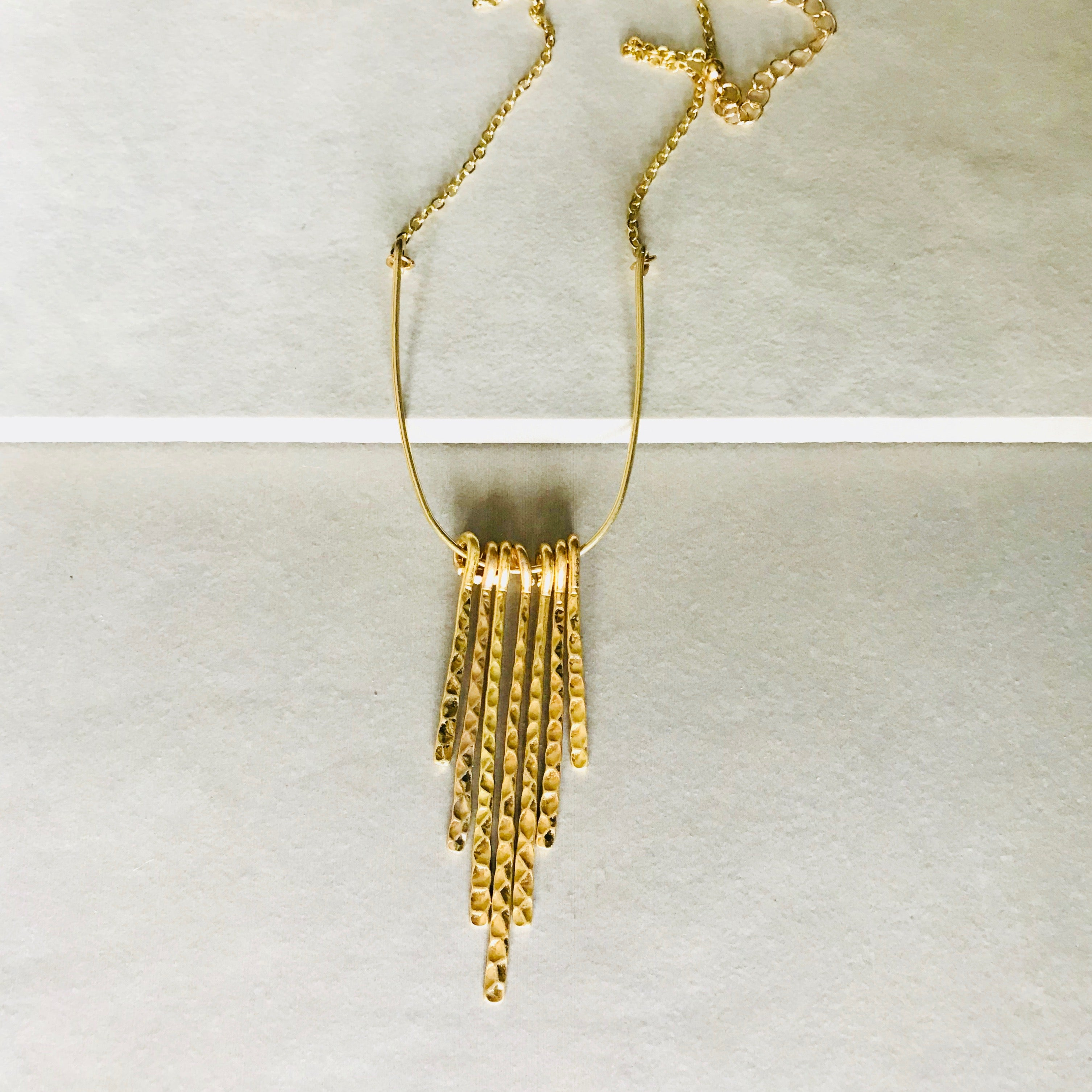 Pretty Simple - Hammered Gold Tassel Necklace