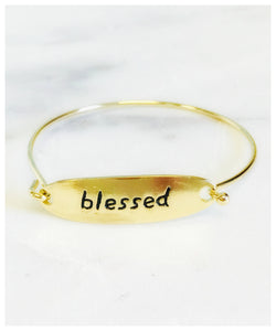 Pretty Simple - Message Hinge Bangles - Gold