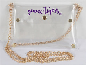 Officially Licensed Clear LSU Crossbody Purse with Gold Chain