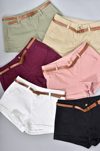 Twill Shorts with Belt