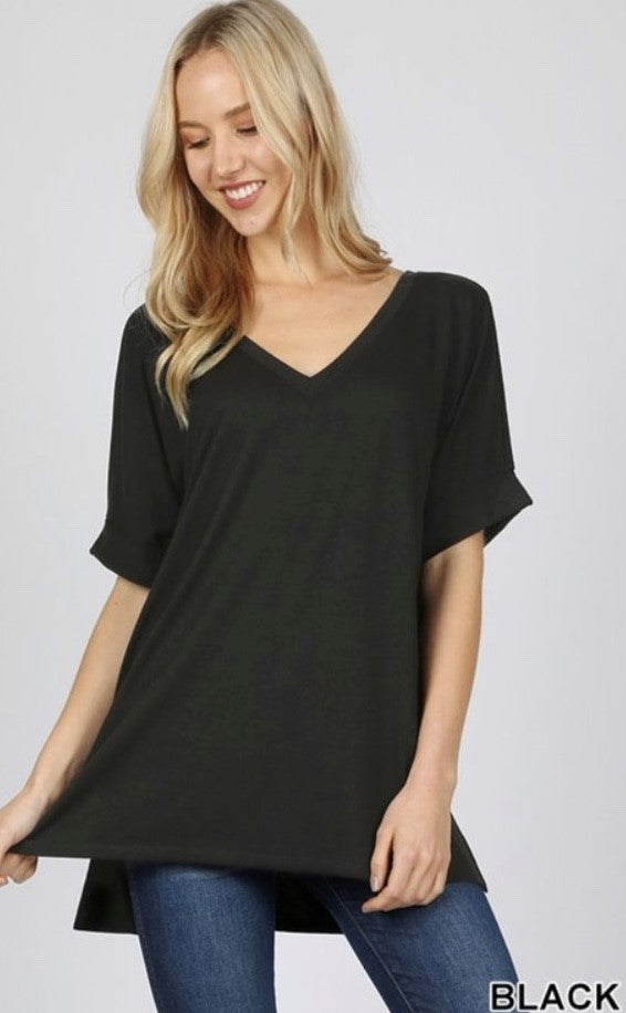 V-Neck Rolled Short Sleeve Tunic