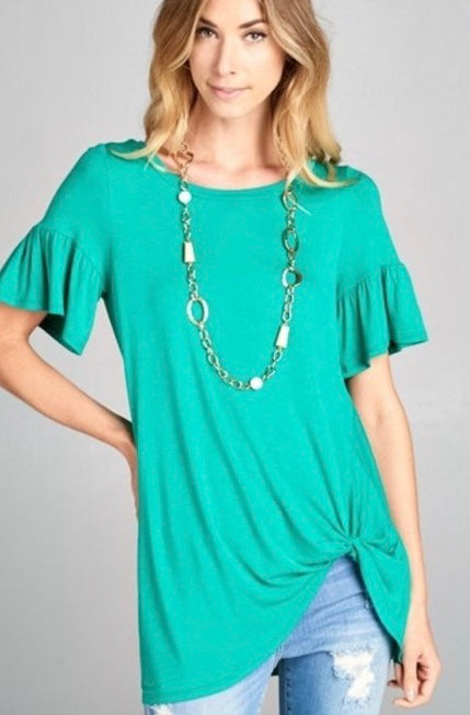 Green top with side twist