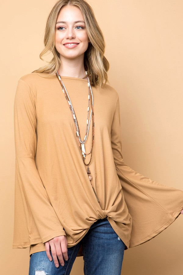 Bell Sleeve Tie Front Tee-also available in Curvy