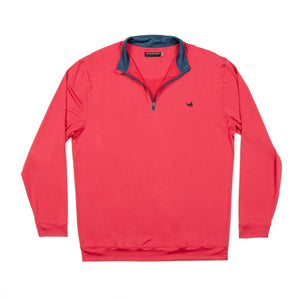 HALF MOON PERFORMANCE PULLOVER-Washed Red and Navy