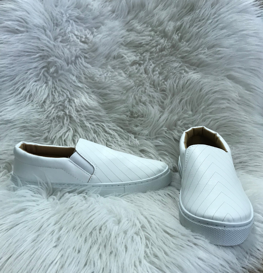 White Tennis Shoe with Tan Chevron Stripe