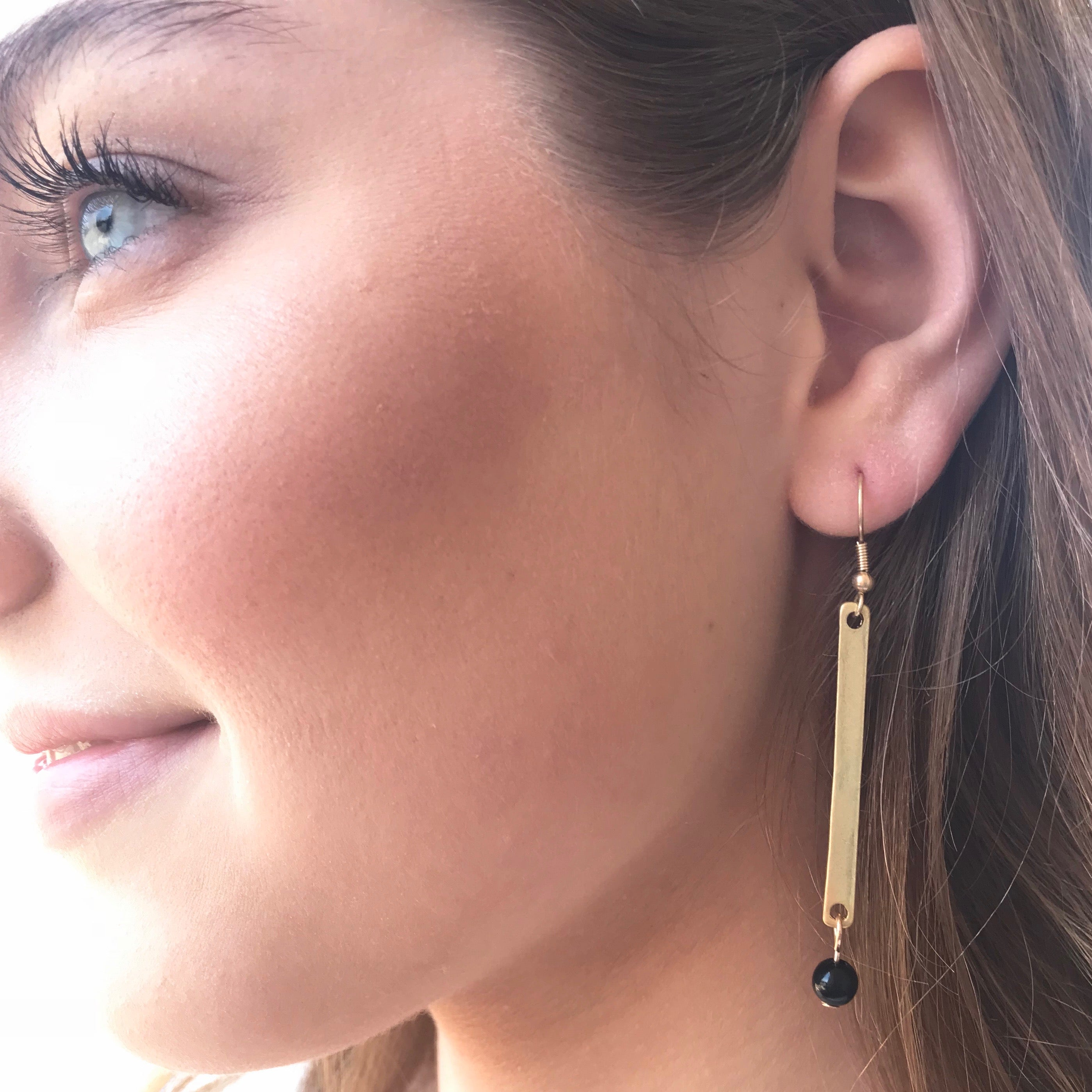 Pretty Simple - Gold Bar With Black Bead Earring