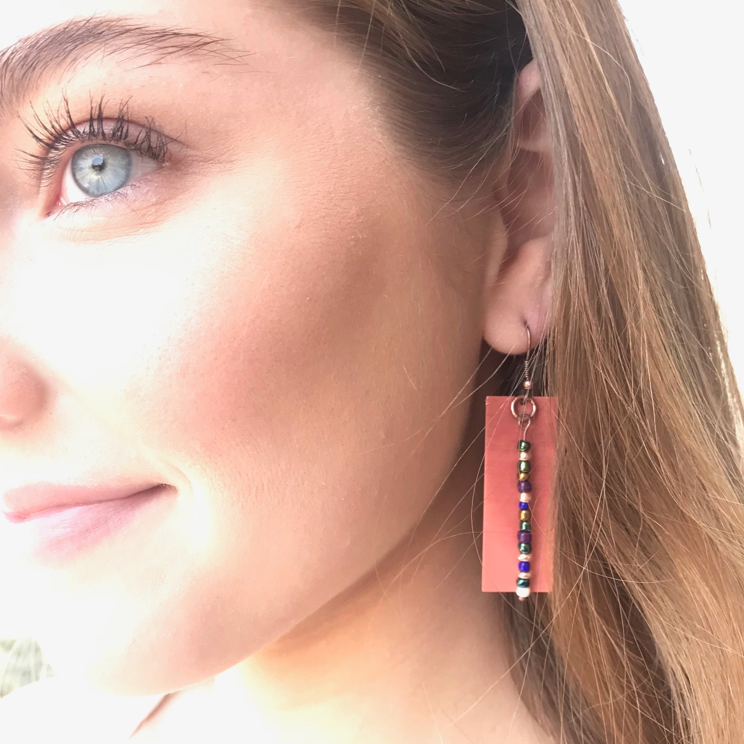 Pretty Simple - Copper Rectangle Mixed Stone Earring