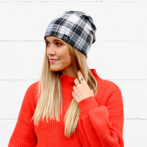Pretty Simple - Black and White Plaid Peek-a-Boo Beanie