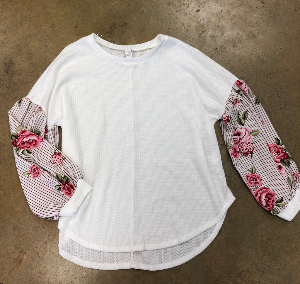 Floral Sleeve thermal top