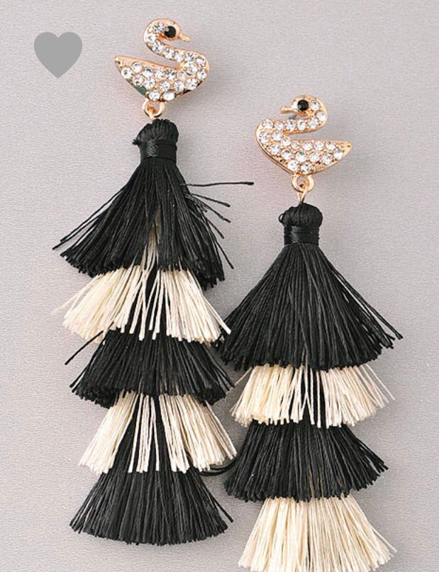 Peacock Earrings with tassel