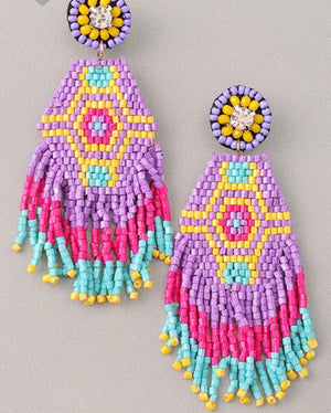 Multi Color Bead Earrings