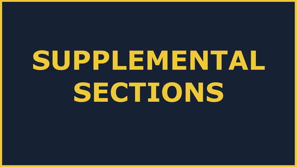 Government Grants Training: SUPPLEMENTAL SECTIONS