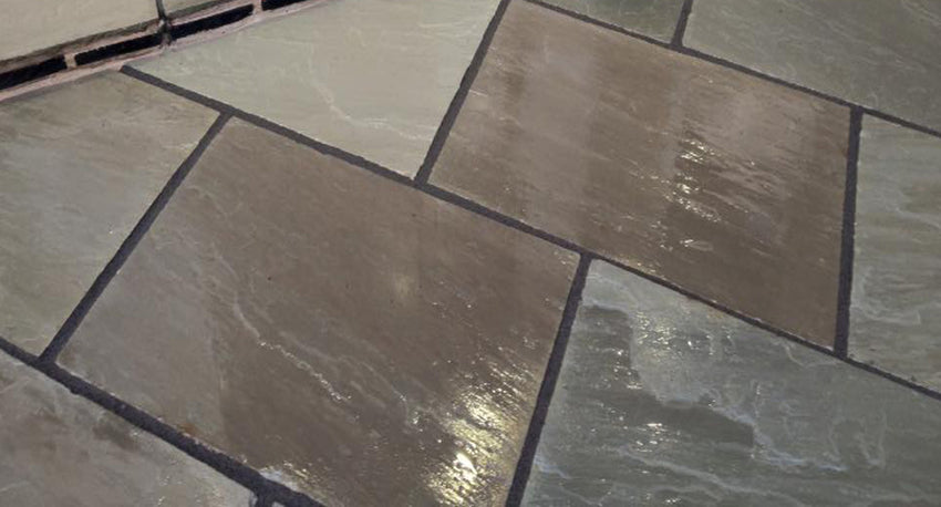 Kandla Grey Indian Sandstone paving 2