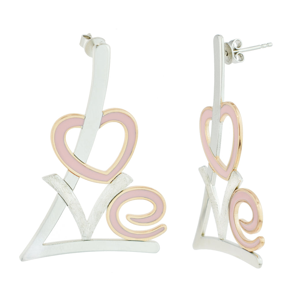 Pink Love Enamel Earrings