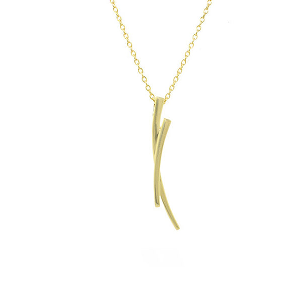 Vertical Curved Lines Necklace