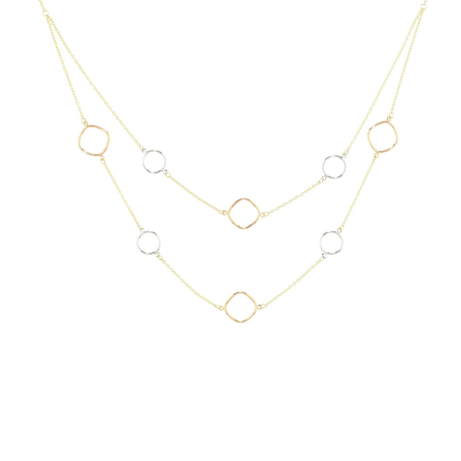 Tri-Tone Open Shape Layered Necklace