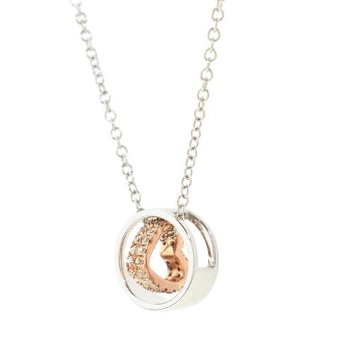 Open Heart In Circle Necklace
