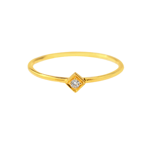 Tilted Square Diamond Ring