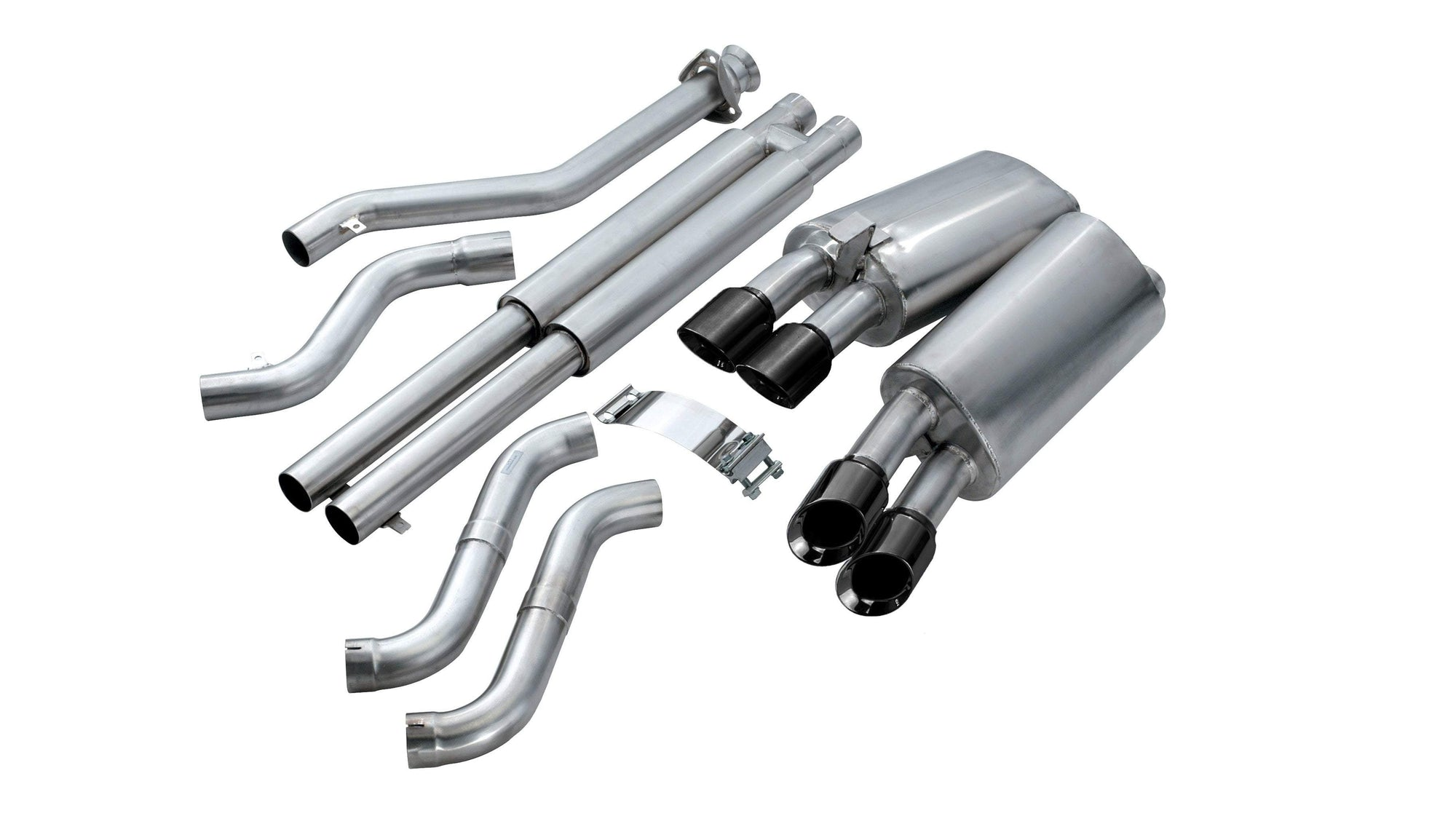"CORSA PERFORMANCE Cat-Back Exhaust Polished / Sport / Dual Rear - Twin 3.5in 2.5"" Dual Rear Exit Cat-Back Exhaust System with Twin 3.5"" Tips (14117) Sport Sound Level"