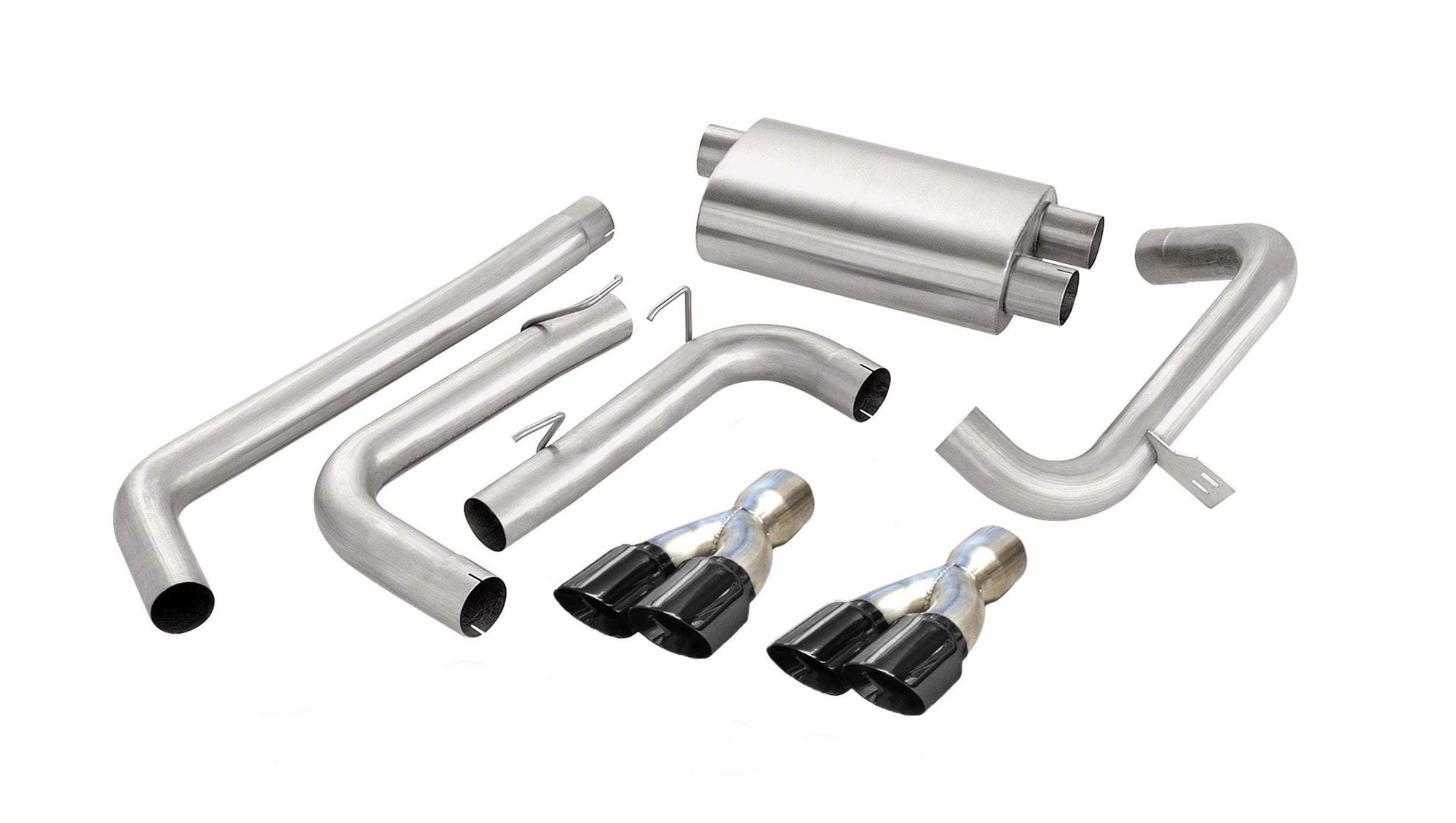 "CORSA PERFORMANCE Cat-Back Exhaust Polished / Sport / Dual Rear - Twin 3.5in 3.0"" Dual Rear Exit Cat-Back Exhaust System with Twin 3.5"" Tips (14144) Sport Sound Level"