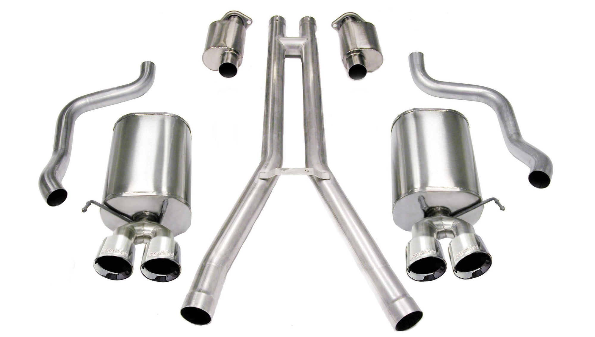 "CORSA PERFORMANCE Cat-Back Exhaust Polished / Sport / Dual Rear - Twin 3.5in 2.5"" Dual Rear Exit Cat-Back Exhaust System with Twin 3.5"" Tips (14156) Sport Sound Level"