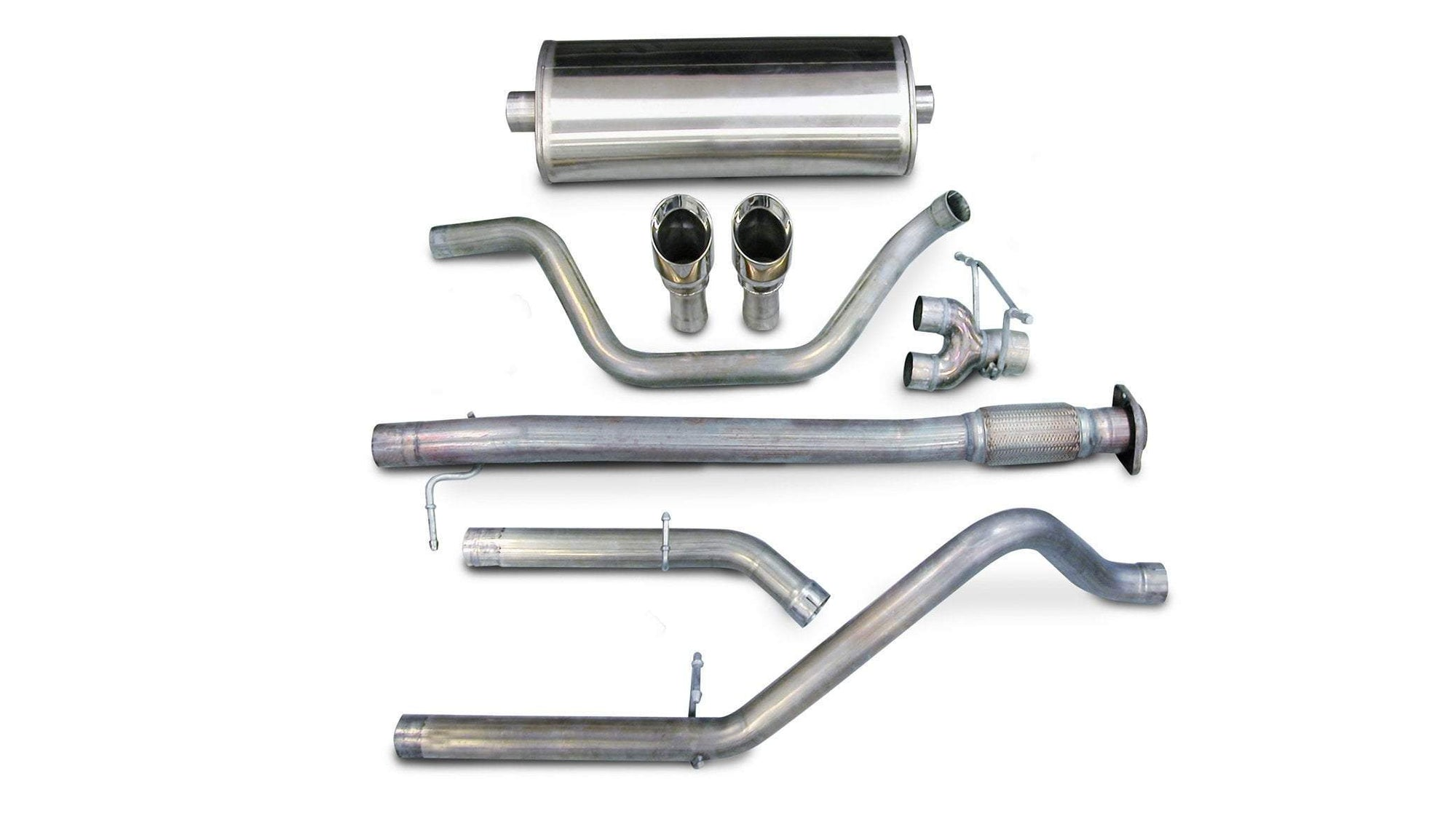 "CORSA PERFORMANCE Cat-Back Exhaust Polished / Sport / Dual Rear - Single 4.0in 2007-2008 Chevrolet Silverado, GMC Sierra 4.8L, 5.3L, 6.0L V8, 3.0"" Dual Rear Exit Catback Exhaust System with Single 4"" Tips (14199) Sport Sound Level"