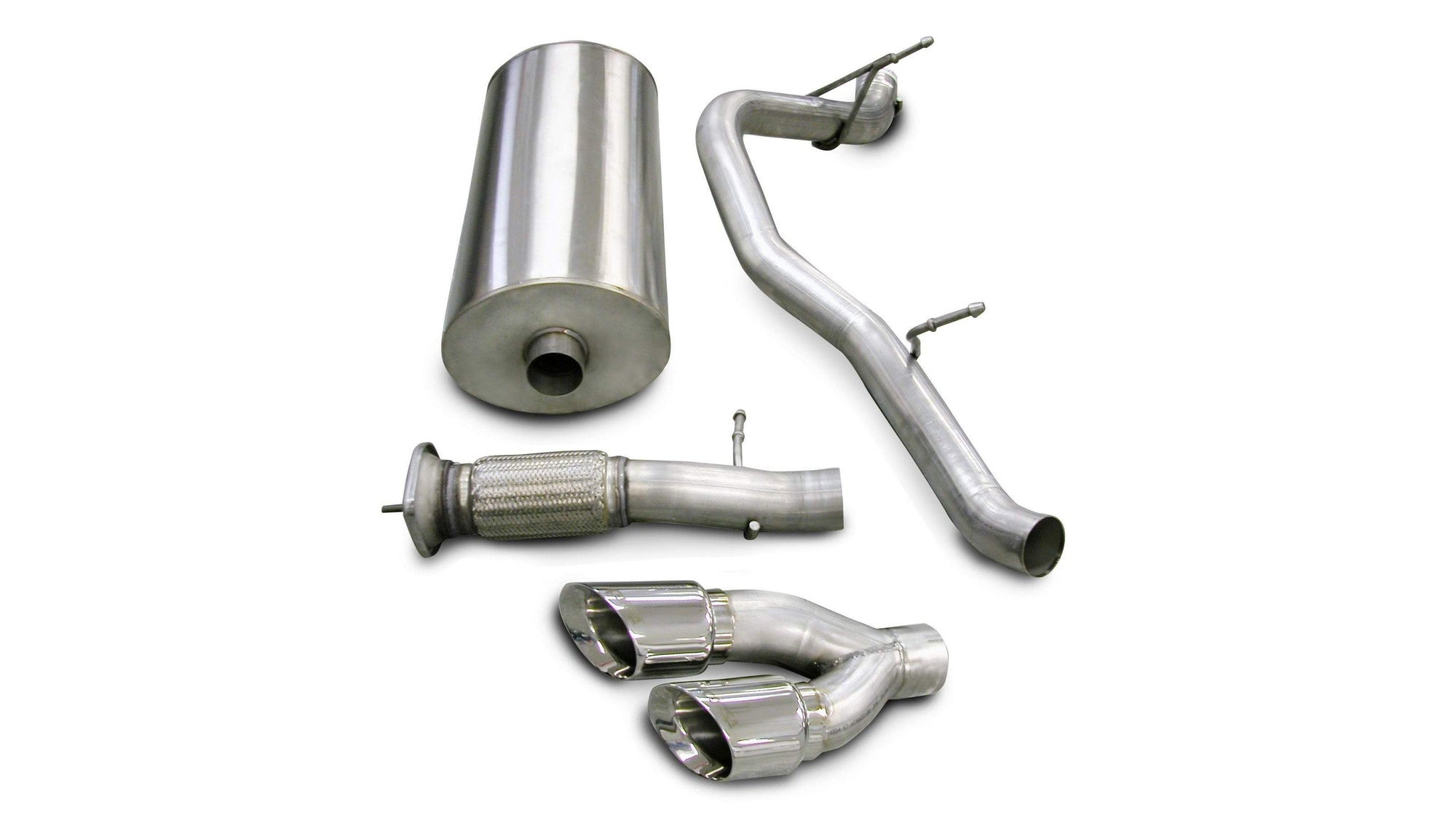 "CORSA PERFORMANCE Cat-Back Exhaust Polished / Sport / Single Side - Twin 4.0in 3.0"" Single Side Exit Cat-Back Exhaust System with Twin 4.0"" Tip (14202) Sport Sound Level"
