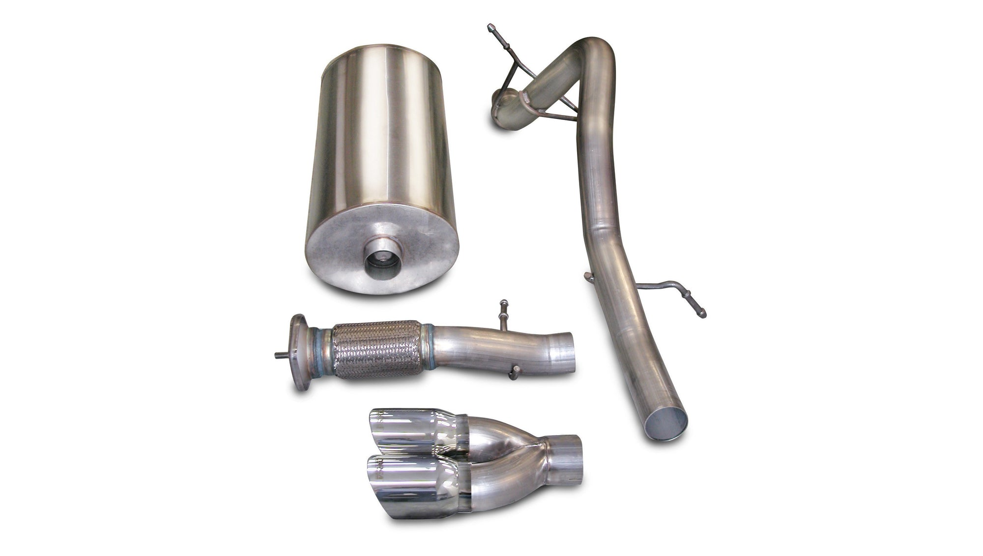 "CORSA PERFORMANCE Cat-Back Exhaust Polished / Sport / Single Rear - Twin 4.0in 3.0"" Single Rear Exit Cat-Back Exhaust System with Twin 4.0"" Tip (14242) Sport Sound Level"