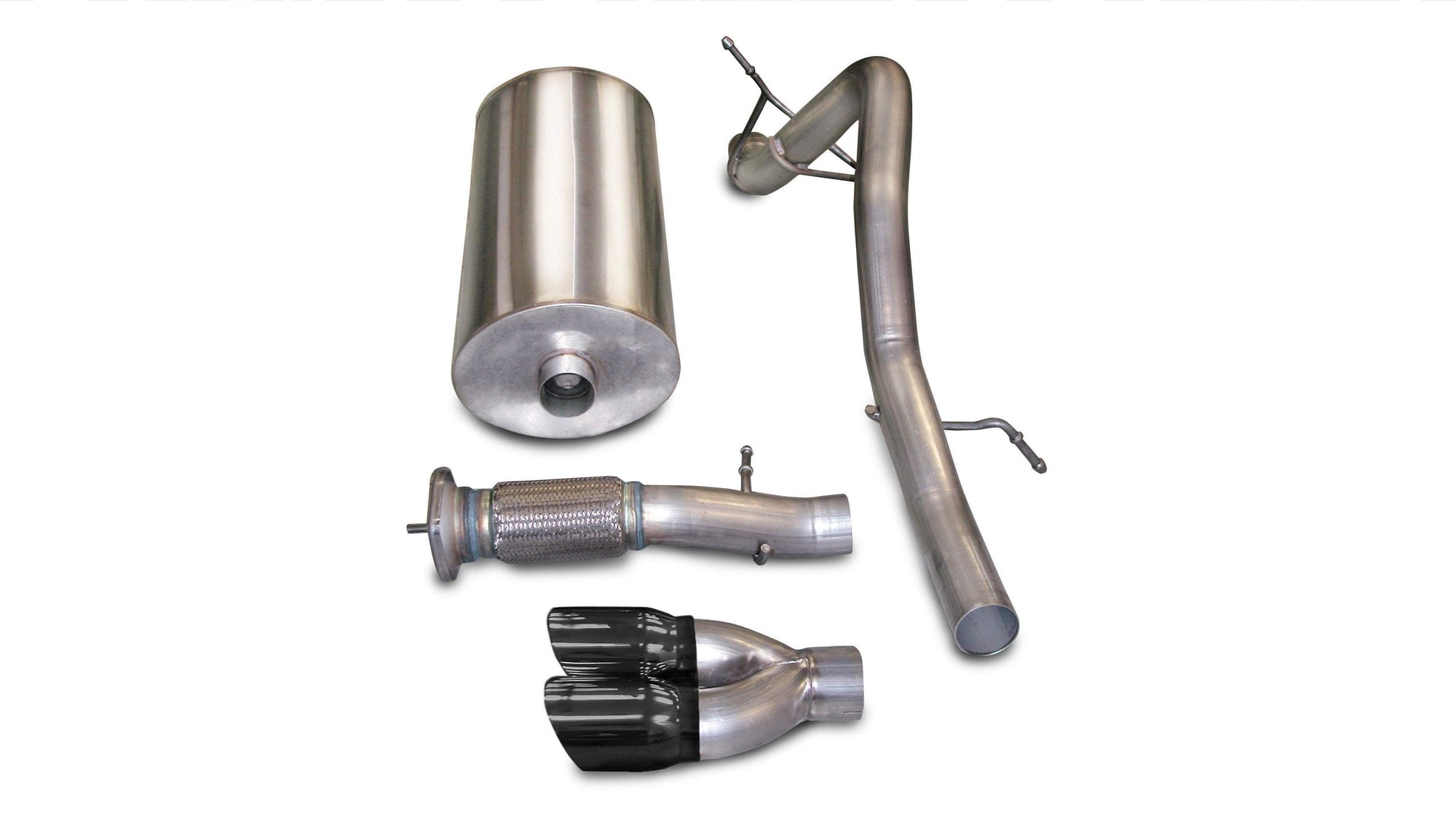 "CORSA PERFORMANCE Cat-Back Exhaust Polished / Sport / Single Rear - Twin 4.0in 3.0"" Single Rear Exit Cat-Back with Twin 4.0"" Tip (14244) Sport Sound Level"
