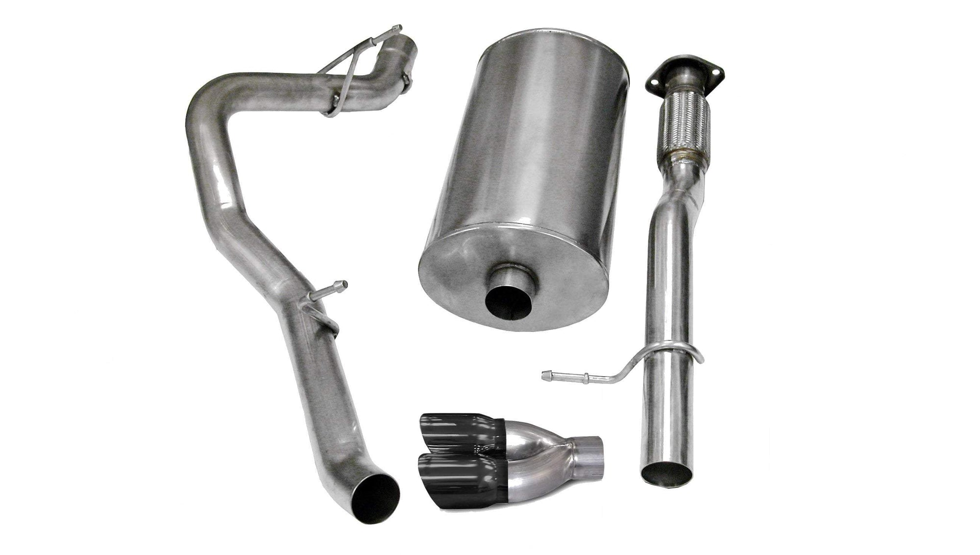 "CORSA PERFORMANCE Cat-Back Exhaust Polished / Sport / Single Side - Twin 4.0in 2007-2009 Chevrolet Avalanche, Suburban, GMC Yukon XL, 5.3L, 6.0L V8, 3.0"" Single Side Exit Cat-Back Exhaust System with Twin 4.0"" Tip (14246) Sport Sound Level"