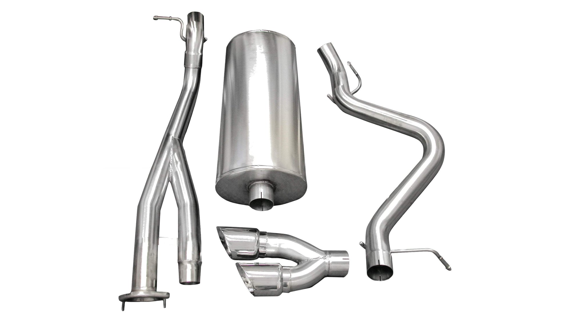 "CORSA PERFORMANCE Cat-Back Exhaust Polished / Sport / Single Side - Twin 4.0in 3.0"" Single Side Exit Cat-Back Exhaust System with Twin 4.0"" Tip (14279) Sport Sound Level"