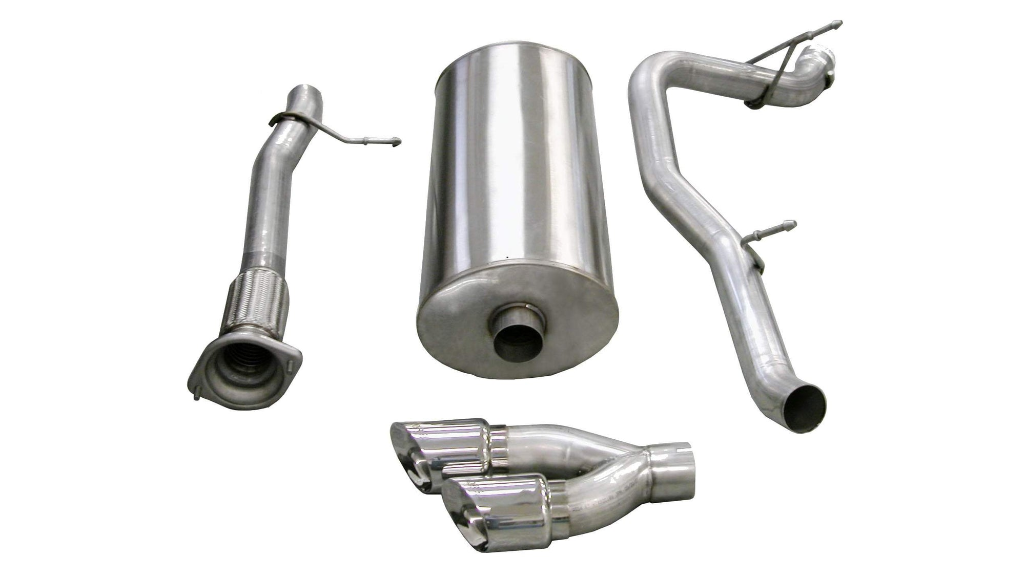 "CORSA PERFORMANCE Cat-Back Exhaust Polished / Sport / Single Side - Twin 4.0in 3.0"" Single Side Exit Cat-Back Exhaust System with Twin 4.0"" Tip (14298) Sport Sound Level"